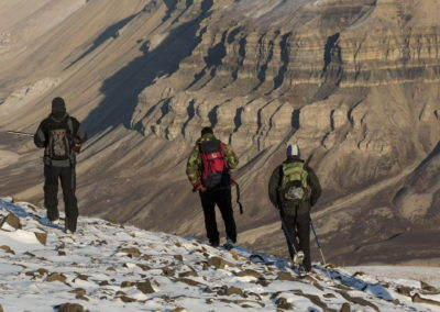 Hiking in the Svalbard mountains