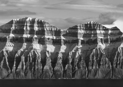 Striated mountain in black and white - Svalbard
