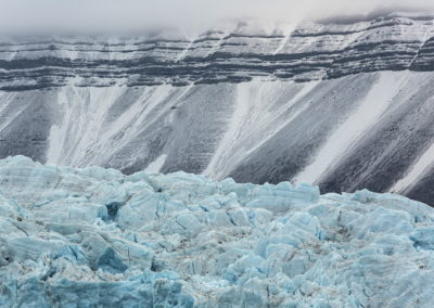 Glacier with mountain backdrop - Svalbard
