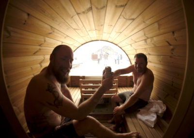Enjoying the sauna